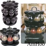 Kitchen 16 Jar Black Rotating Spinning Carousel Spice Herb Rack
